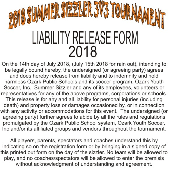 2018 Summer Sizzler Liability Form