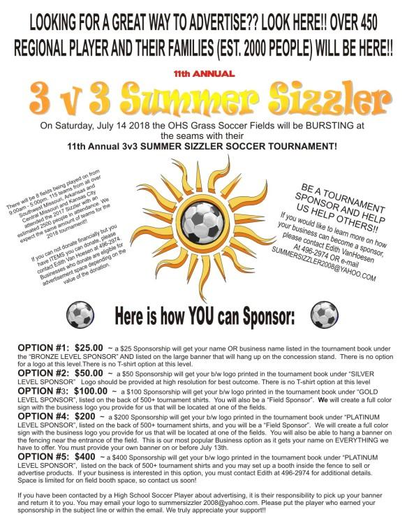 2018 Summer Sizzler Sponsor Levels